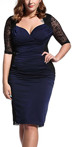 [Women's Vintage Lace Plus Size Deep V-Neck Cocktail Evening Dress Navy/Black 1X] (Plus Size Evening Wear)