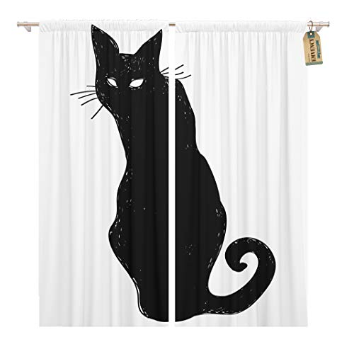 Golee Window Curtain Animal Black Silhouette of Sitting Cat Crow Characters Halloween Home Decor Rod Pocket Drapes 2 Panels Curtain 104 x 84 inches ()
