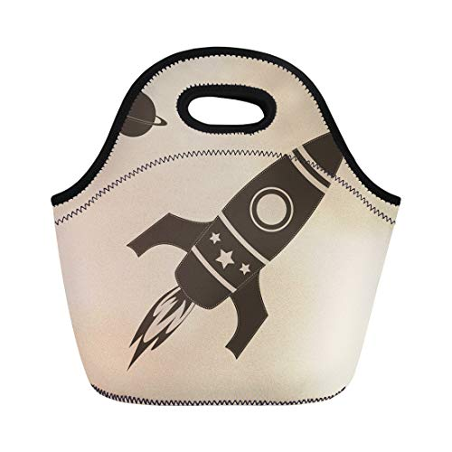 b45979728a23 Semtomn Neoprene Lunch Tote Bag Ship Vintage Rocket in Space Spaceship  Retro Silhouette Planet Reusable Cooler Bags Insulated Thermal Picnic  Handbag ...