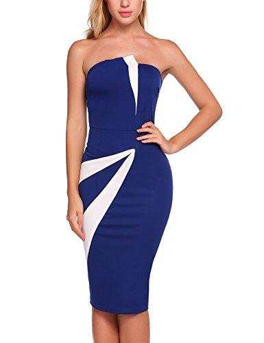 Bandage Colorblock - Jeere Women's Sexy Strapless Colorblock Bandage Party Bodycon Midi Dress Dark Blue S