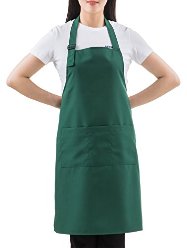 SEW UR LIFE Christmas Green Professional Waterdrop Resistant Adjustable Extra Long Bib Apron 3 Pockets Home Kitchen Garden Restaurant Cafe Bar Pub Bakery for Cooking Chef Baker Servers Craft Unisex