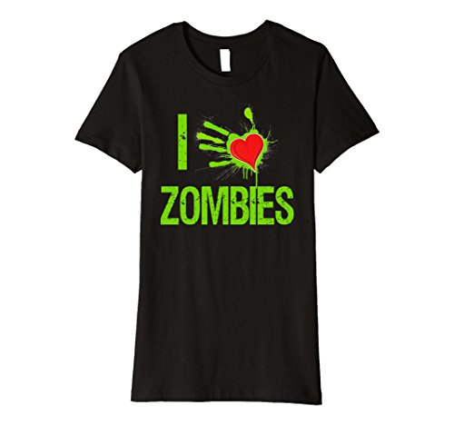 Zombie Heart (Womens Halloween Custom T-Shirt I Love Zombies Heart Shirt Medium Black)