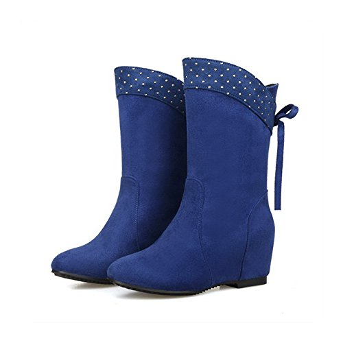 WeiPoot Low Round Boots Women's On Frosted Pull Toe Top Closed Kitten Heels Blue rrpqagw5x