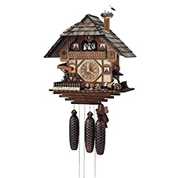 River City Clocks Eight Day Musical Cuckoo Clock with Blacksmith Swinging Hammer and Moving Waterwheel