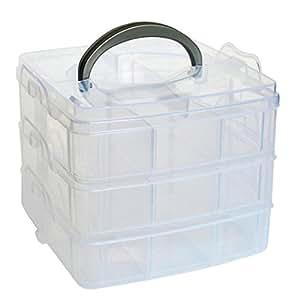 Caja de almacenaje, Clearance. amydong pequeño three-18extraíble caja de almacenamiento de plástico transparente plástico Craft Beads Joyería Almacenamiento Organizador Caja de herramientas