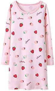 AOSKERA Girls' Fruit Nightgowns Cotton Sleepwear Pink White Nightdress for 3-12 Y