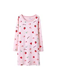 AOSKERA Girls' Fruit Nightgowns 100% Cotton Sleepwear Long Sleeve for 3-10 Years