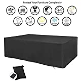 "CDGroup Extra Large Rectangular Patio Furniture Table Covers Rattan Furniture Covers for Outdoor Furniture Patio Dining Set Cover Black Rattan Garden Furniture Covers Waterproof 84""x52""x30"""