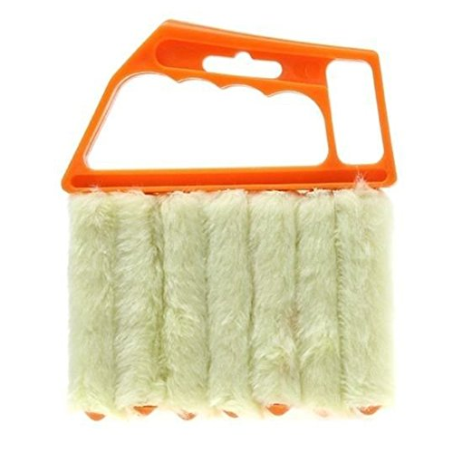Aremazing Washable Venetian Blind Slat Dust Cleaner Air Conditioner Duster Clean Brush (Orange + Beige)