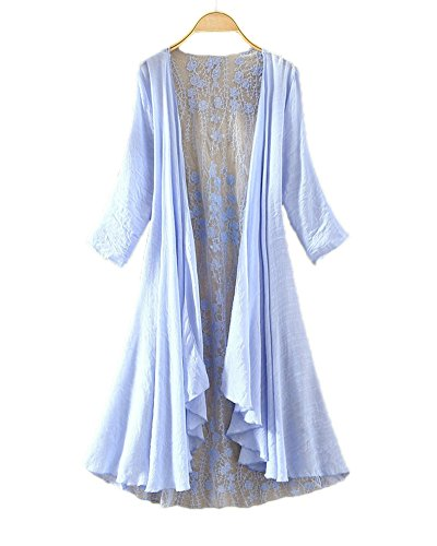 LifeWheel Thin Section Sunscreen Cardigan Jacket Long Section Lace Shirt sky blue medium