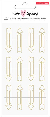 American Crafts Gold Arrow Shapes Main Squeeze Paper Clips 12/Pkg Paper Clips Scrapbooking