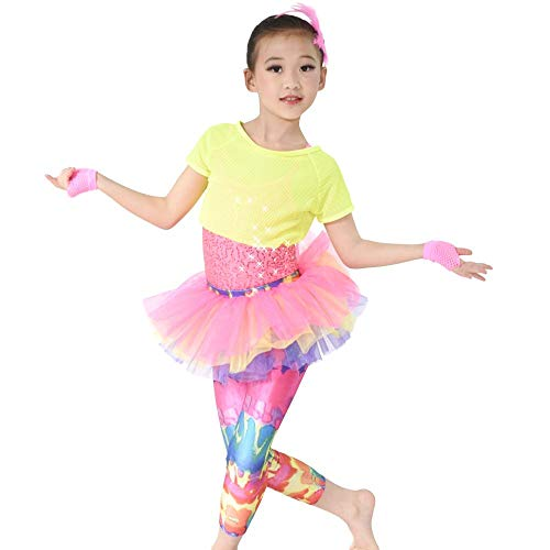 MiDee 6 Pieces Colorful Dance Costume Girls Skirt Pants Fishnet Tank Sequins Leotard Performance Outfits (SC)