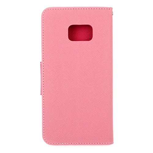 Galaxy S7 Funda,COOLKE Dos Colores Funda Carcasa Cuero Tapa Case Cover Para Samsung Galaxy S7 - Rojo Rosa