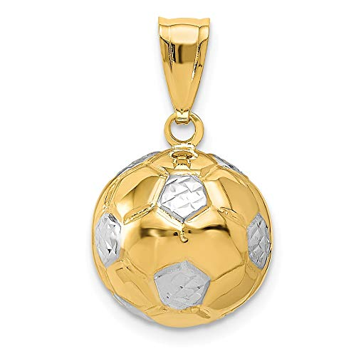 14k Yellow Gold Soccer Ball Pendant Charm Necklace Sport Man Fine Jewelry Gift For Dad Mens For Him ()