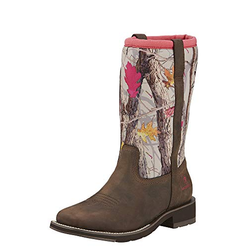 Ariat Women's Fatbaby All Weather Western Cowboy Boot, Palm Brown/Hot Leaf Neoprene, 10 M US