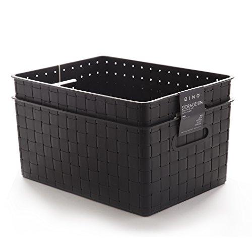 BINO Woven Plastic Storage Basket (2PK- L, Black)