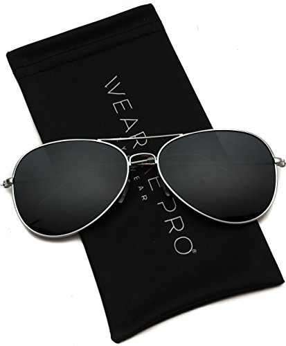 WearMe Pro - Polarized Metal Frame Pilot Style Aviator Sunglasses (Silver Frame/Black Lens, ()