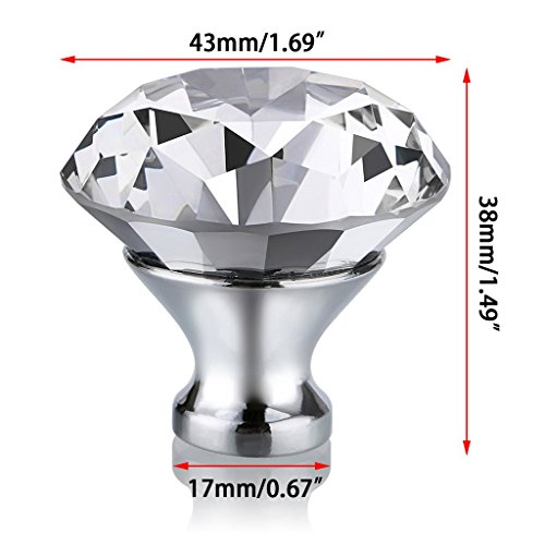 durable service BTSKY 40mm(1.57inches) Clear Glass Crystal Cabinet Knobs--Diamond Shape Wardrobe Door Knobs/Cupboard Drawer Pull Handle/Glass Dresser Knobs,Come with 3 kinds of Screws (8 PCS)