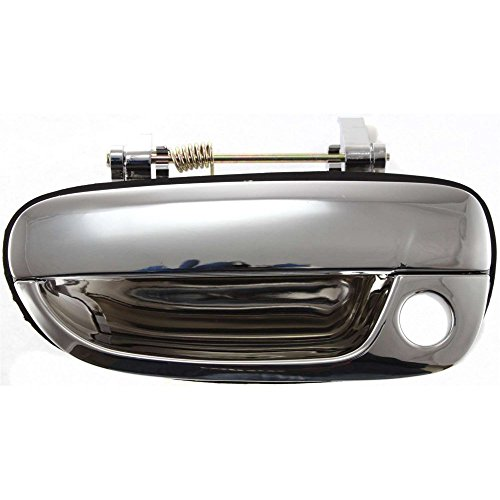 Chrome Door Handle Accents - Evan-Fischer EVA18772025903 Door Handle for 2000 Hyundai Accent GL 1.5L Front Left Side Exterior Plastic Chrome w/Keyhole