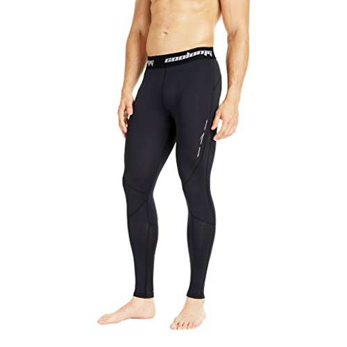 COOLOMG Men's Compression Pants Running Tights Baselayer Cool Dry Long Pants Sports Leggings Black Adults X-Small (Youth Large) (Compression Pants For Kids)