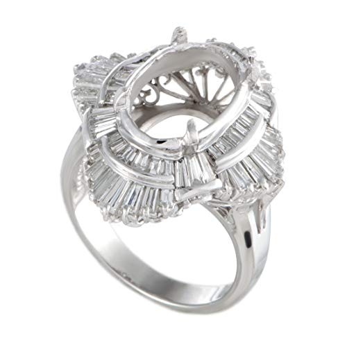 Luxury Bazaar Platinum Round and Tapered Baguette Diamonds Oval Mounting Ring (Baguette Mounting Platinum)