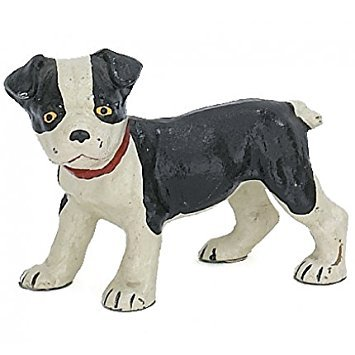 Boston Terrier Pup Dog Sculpture Figure, Hand Painted Cast Iron, 6-inch, Paperweight, Door Stop ()