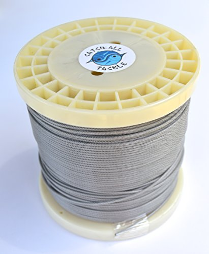 49-strand 7x7 Stainless Steel Vinyl Coated Cable 500ft 600lb 1.80mm by Catch All Tackle