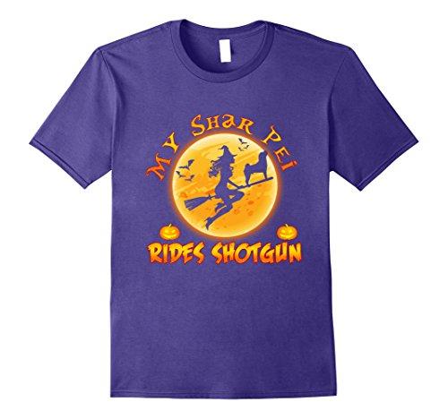 Shar Pei Halloween Costumes (Mens My SHAR PEI Rides Shotgun Halloween Gift T-Shirt Medium Purple)