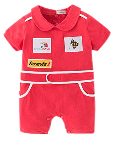 stylesilove Baby Boy Short Sleeves Chic Car Racer Costume Romper (Red, 90/12-18 -