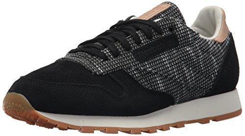 Reebok Mens Cl Pelle Ebk Sneaker Nera Netto Grigio / Sto / Sabbia