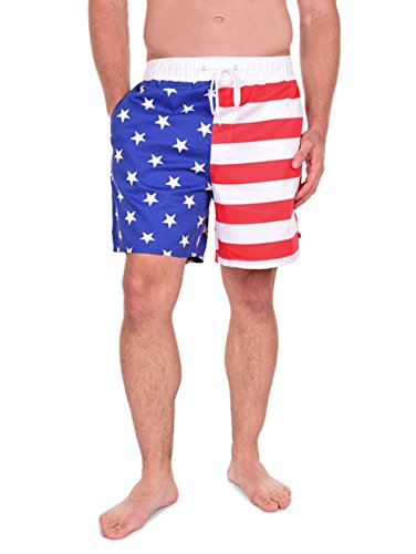 Tipsy Elves Men's USA American Flag Shorts (X-Large)