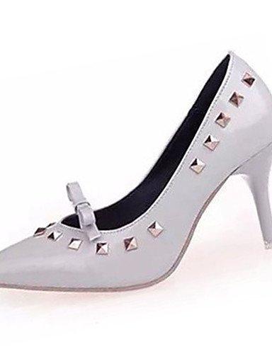 ZQ Zapatos de mujer-Tac¨®n Stiletto-Tacones-Tacones-Casual-PU-Negro / Rojo / Gris , gray-us8 / eu39 / uk6 / cn39 , gray-us8 / eu39 / uk6 / cn39 gray-us5.5 / eu36 / uk3.5 / cn35
