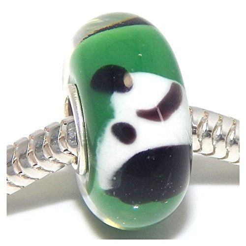 """Solid 925 Sterling Silver """"Green Background with Black and White Dog Head"""" Glass Charm Bead for European Snake Chain Bracelets"""