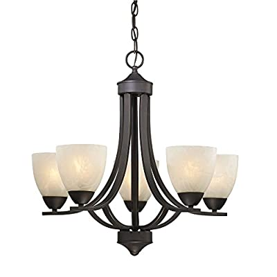 Bronze Chandelier with Alabaster Glass Shades