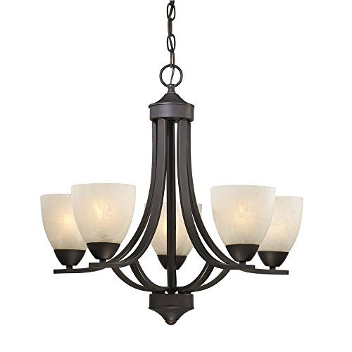 ith Alabaster Glass in Bronze (5 Light Chandelier)
