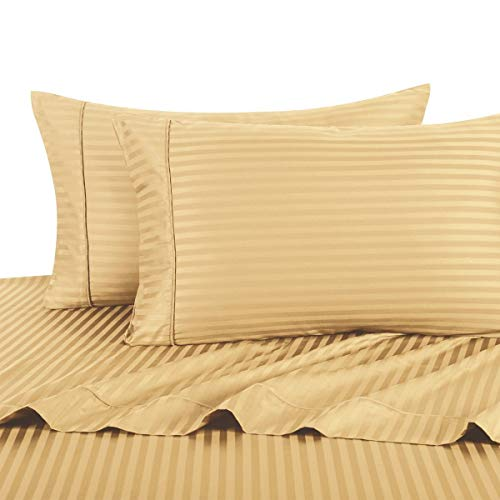 Stripe Gold Full Size Sheets, 4PC Bed Sheet Set, 100% Cotton, 300 Thread Count, Sateen Striped, Deep Pocket, Deep Pocket, by Royal ()