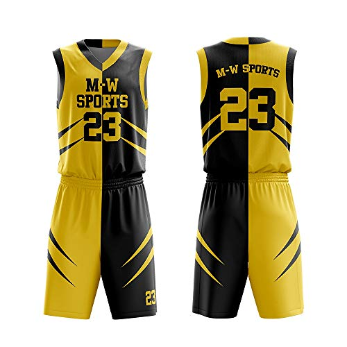 139c9b65042 M-W Sports Customize Basketball Jerseys Design Your own idea Youth Basketball  Uniform Vest and Shorts (L, Yellow)