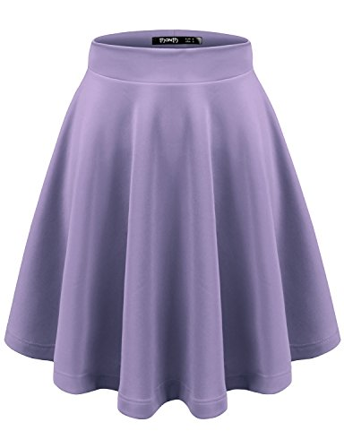 TWINTH Womens Versatile Stretchy Pleated Flare Skater Skirt Lavender 4XL
