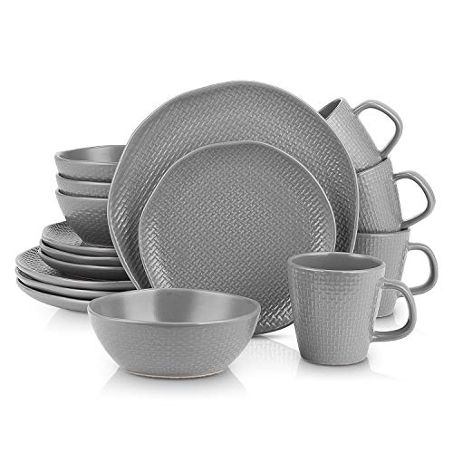 Stone Lain Organic Shape Weave Embossed Stoneware Dinnerware Set, Round Service for 8, Gray