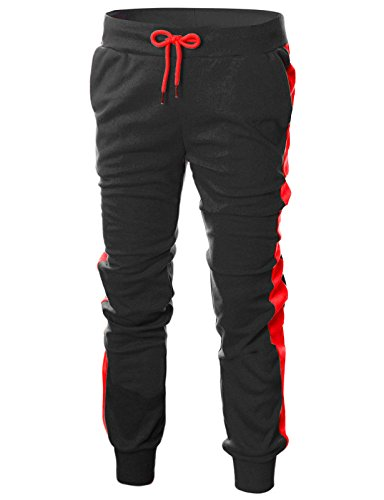 (OHOO Mens Slim Fit Lightweight Training Active Sweat Jogger Pant with Color Trims/DCA017-BLACK/RED-L)