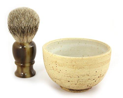 RAZZOOR Noble shaving brush set Faux Horn Silvertip - handmade ceramic bowl in natural colors - shaving brush real badger hair Silvertip for foaming perfect shaving (Silvertip Badger Shaving Set)