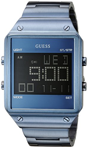 GUESS Men's U0596G4 Trendy Blue Stainless Steel Watch with Digital Dial and Blue Deployment Buckle