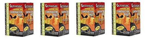 Aluf Plastics 792697 Ultrasac Heavy Duty Professional Quality Contractor Trash Bag, 42 Gallon Capacity, 2 ft.9in x 3 ft.9.5 inch, Black (Case of 20) (4-(Case of 20))