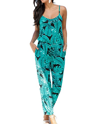 U-Story Women's Spaghetti Strap Floral Print Sleeveless Summer Beach Jumpsuits Rompers (Medium, Green)