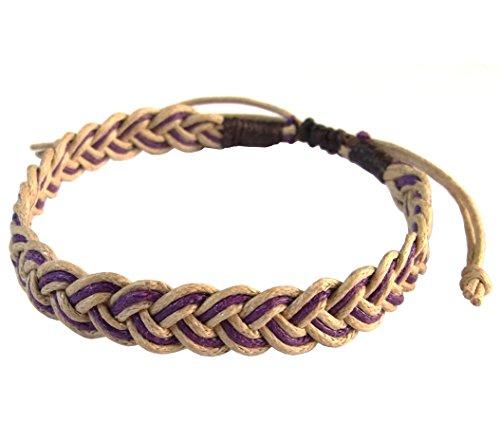 Rare Unique Asian Art Handmade Thai Buddha Fashion Style Brown Purple String Wristband Bracelet