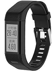 KOMI Horlogebandjes compatibel met Garmin Vivosmart HR+, Silicone Fitness Sport Polsband Vervanging voor Garmin Vivosmart HR plus, Zwart