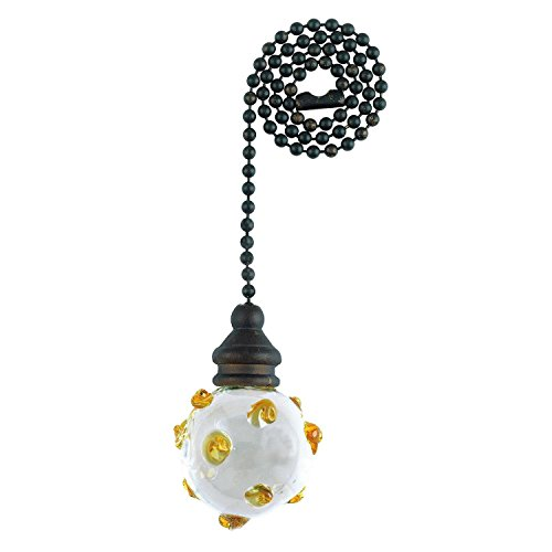 Westinghouse Lighting Corp 77118 12-Inch Pull Chain, Orb and  Amber Swirls with Bronze Accents Carded