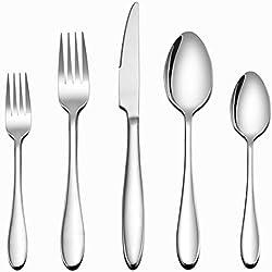 Flatware Set, 40-Piece Silverware Set, LIANYU Stainless Steel Home Kitchen Hotel Restaurant Tableware Cutlery Set, Service for 8, Mirror Finished, Dishwasher Safe
