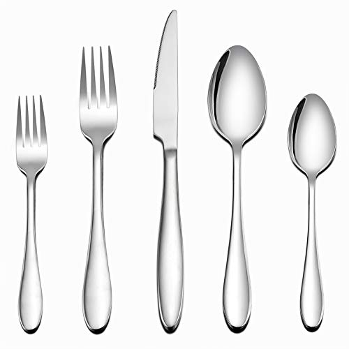 (Flatware Set, 40-Piece Silverware Set, LIANYU Stainless Steel Home Kitchen Hotel Restaurant Tableware Cutlery Set, Service for 8, Mirror Finished, Dishwasher Safe)