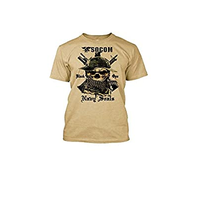 Top Navy Seals T-Shirt Boonie Hat Skull SOCOM Black Ops Military Tee for sale